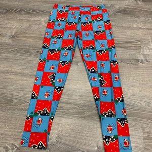 LuLaRoe Tall & Curvy Leggings Santa Claus Xmas